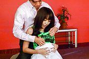 Japanese av babe, Marika, works magic on a big dick  Photo 1