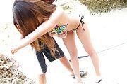 Av model  Yui Nanase enjoys a great fuck on the beach Photo 1