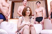Naked av woman endures several guys in crazy gangbang  Photo 1