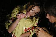 Japanese kimono gal getting sex on a futon Sakura Hirota Photo 4