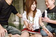 Strong threesome with a sexy Japanese avstar Photo 2