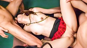 Strong threesome with a sexy Japanese av star