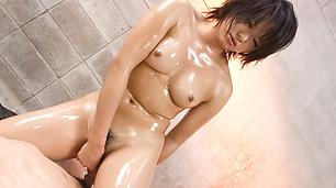 Haruka Uchiyama Oiled Up And Creampied In A Threesome
