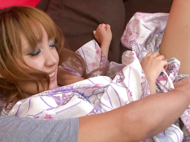 Lovely babe Yuki Mizuho teasing in her kimono, fondled and fucked Photo 1