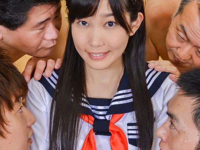 Japanese av teen fucked at school by two guys  Photo 4