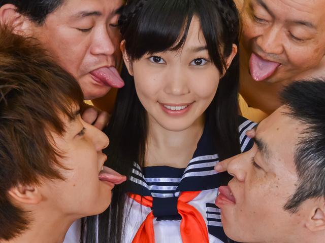 Japanese av teen fucked at school by two guys  Photo 5
