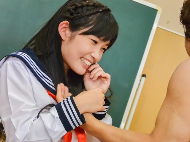 Japanese av teen fucked at school by two guys  Photo 9