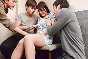 Busty Japanese av woman hard fucked by two guys  Photo 2