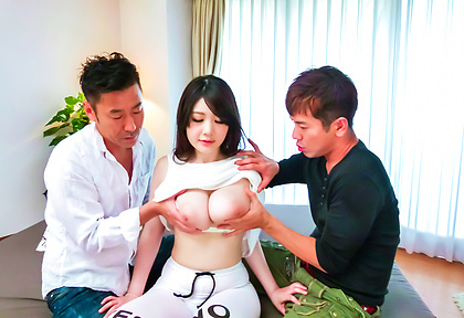 Horny av girl Rie Tachikawa gets pounded by two guys