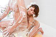 Soapy massage along sexy av beauty, Risa Mizuki Photo 4