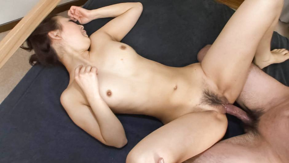 Cock jerking and double penetrated petite babe