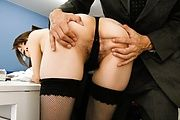 Lovely lady in her tight stockings finger fucked and gagging cock Photo 7