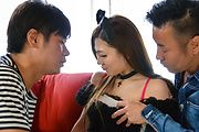 Av Japanese babe nailed in serious threesome  Photo 1