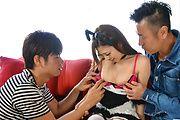 Av Japanese babe nailed in serious threesome Photo 3