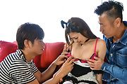 Av Japanese babe nailed in serious threesome  Photo 4