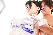 Sennsual Japanese av model pumped in threesome  Photo 7