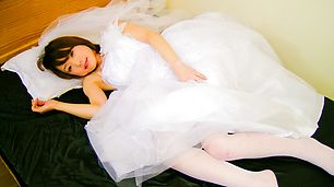 Nasty newly-wed Asian babe gagging two hard shafts and screwed
