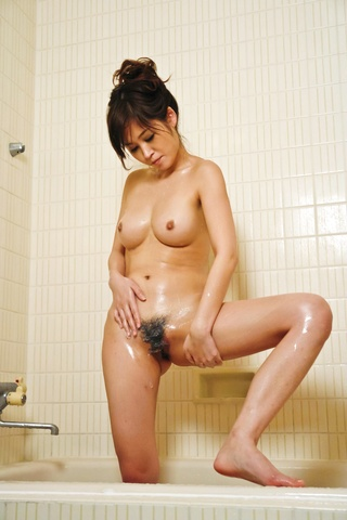 Out of the shower Moe Yoshikawa goes right to hard threesome action Photo 10