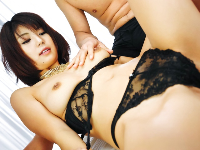 Stunning Asian woman blowing two hard shafts and get screwed Photo 3